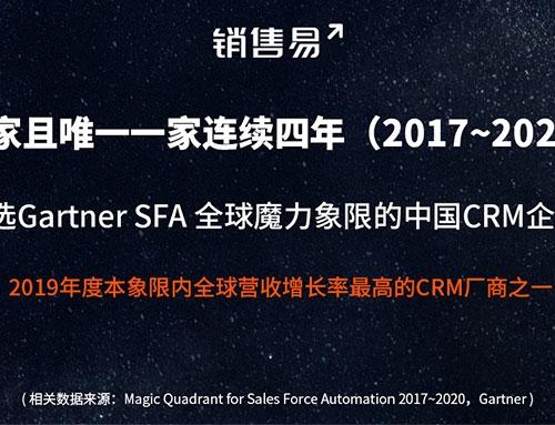 销售易CRM连续四年入选Gartner全球魔力象限,多项指标超越国际厂商